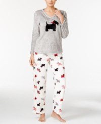 Charter Club Plush Appliqued Top And Printed Pants Pajama Set Only At Macy's Scotties