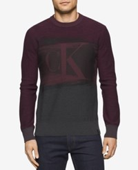 Calvin Klein Jeans Men's Colorblocked Graphic Print Logo Sweater Bordeaux