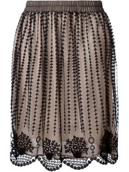 Red Valentino Sheer Embroidered Skirt Black