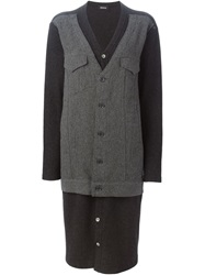 Zucca Long Panelled Coat Black