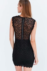 Kimchi And Blue Lucinda Scalloped Lace Bodycon Mini Dress Black