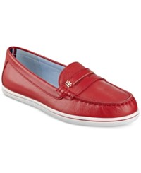 Tommy Hilfiger Butter Penny Loafers Women's Shoes Red Leather