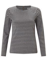 John Lewis Collection Weekend By Zip Back Panel Breton T Shirt Grey Charcoal