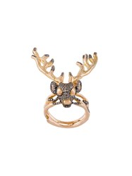 Christina Debs Diamond Deer Ring Metallic