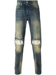 Hood By Air Logo Patch Slim Jeans Blue