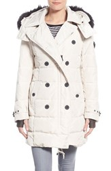 Women's Nanette Lepore Hooded Down Peacoat With Faux Fur Trim Stone