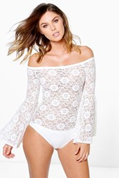 Boohoo Bardot Corded Lace Bell Sleeve Bodysuit Cream