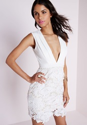 Missguided Lace Skirt Plunge Waist Bodycon Dress White White