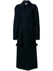 Stella Mccartney Belted Fringe Detail Coat Black