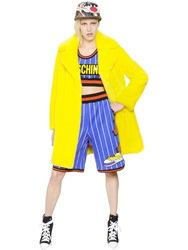 Moschino Double Breasted Faux Fur Coat Yellow