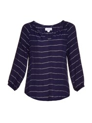 Velvet By Graham And Spencer Syd V Neck Striped Twill Top