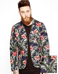 Edwin Blazer Simple Post Japanese Floral Navyfloral