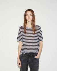 Alexander Wang Cropped Stripe Tee Lavender And Charcoal