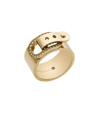 Michael Kors Pave Gold Tone Buckle Ring