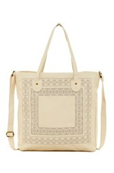T Shirt And Jeans Embroidered Tote White