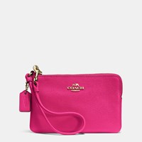 Coach Embossed Small Corner Zip Wristlet In Leather Light Gold Cerise