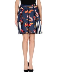 Eggs Knee Length Skirts Dark Blue