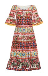 Dolce And Gabbana Bell Sleeve Midi Dress White Red Blue