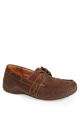 Men's Alegria 'Franklin' Nubuck Leather Boat Shoe Chocolate