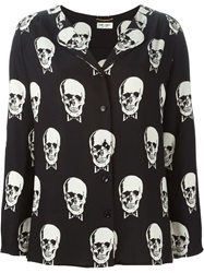 Saint Laurent Skull Print Shirt Black