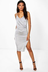 Boohoo Drape Front Detail Slinky Midi Dress Grey