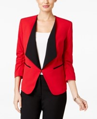 Nine West Ruched Sleeve Blazer Fire Red Black