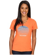 Life Is Good Stripe Sun Crusher Vee Coral Orange Women's T Shirt