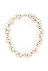 Forever 21 Faux Pearl Statement Necklace Gold Cream