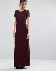 Warehouse Lace Maxi Dress Berry Red