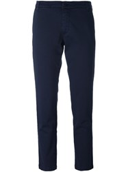 P.A.R.O.S.H. Slim Fit Cropped Trousers Blue