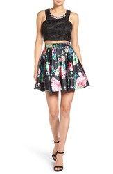 Steppin Out Women's Lace And Floral Two Piece Dress