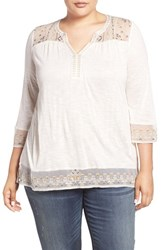 Lucky Brand Plus Size Women's Embroidered Sheer Yoke Top Whisper White