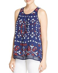 Daniel Rainn Abstract Print Tank Navy