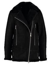 Reiss Starling Leather Jacket Black