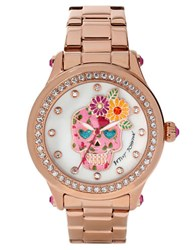 Betsey Johnson Ladies Floral Skull Motif Rose Goldtone Watch