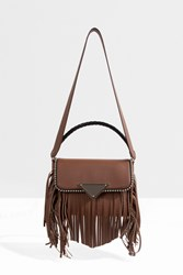 Sara Battaglia Fringe Flap Detail Cross Body Brown