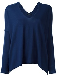 Twin Set V Neck Knitted Blouse Blue