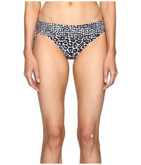 Stella Mccartney Mixed Animal And Elastic Fold Down Bikini Bottom Midnight Blue Leopard Giraffe Print