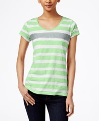 Styleandco. Style And Co. Short Sleeve Striped Tee Only At Macy's Fresh Mint City Silver
