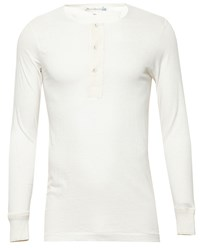Merz B. Schwanen Henley Long Sleeved T Shirt Off White Natural