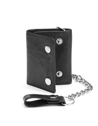 William Rast Trifold Leather And Chain Wallet Black