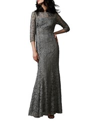 Kay Unger Three Quarter Sleeve Lace Gown Silver