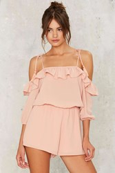 Ruffled Around Off The Shoulder Romper Pink