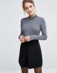 Oasis Beaded High Neck Knitted Jumper Grey