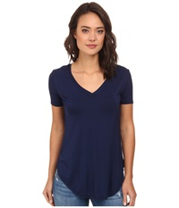 Culture Phit Preslie Cap Sleeve Modal V Neck Top Navy Women's Clothing