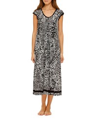 Ellen Tracy Pleated Animal Print Gown Grey