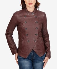 Lucky Brand Double Breasted Leather Jacket Burgundy