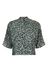 Topshop Cheetah Print Short Sleeve Shirt Mint