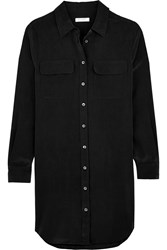 Equipment Slim Signature Washed Silk Mini Shirt Dress Black