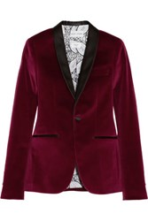 Each X Other Satin Trimmed Velvet Tuxedo Blazer Burgundy